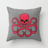 hydra Throw Pillows featuring Hydra by Beastie Toyz