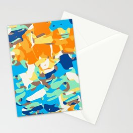 brown orange blue and dark blue dirty painting abstract background Stationery Cards