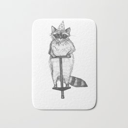 party raccoon on a pogo stick Bath Mat