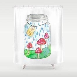 Mushrooms in Mason Jar Shower Curtain