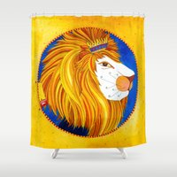 leo Shower Curtains featuring Leo by Sandra Nascimento