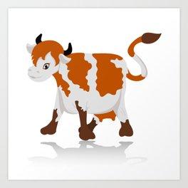 Cartoon cow Art Print