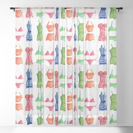Evolution of the swimsuit pattern Sheer Curtain