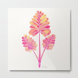 Tropical Palm Leaf Trifecta – Pink Palette Metal Print
