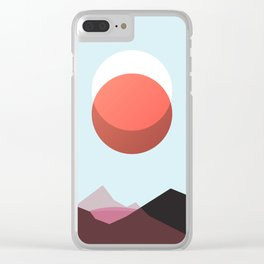Minimalist Red Moon Lunar Eclipse with Mountains Clear iPhone Case