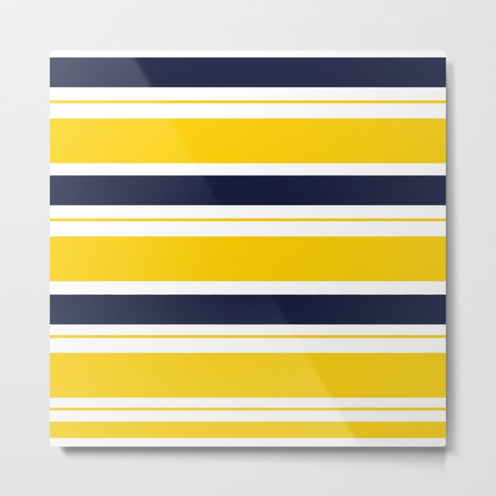 Yellow and Blue Horizontal Lines Stripes Metal Print