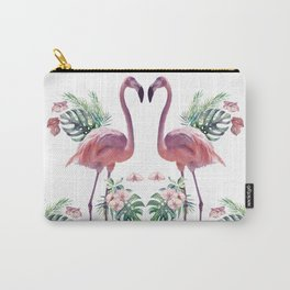 Two Flamingos Tropical Flamingo Standing Watercolour Carry-All Pouch
