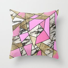 Girly Pink Geometric Gold and Modern Marble Throw Pillow