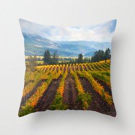 Autumn Vineyard Vista Throw Pillow