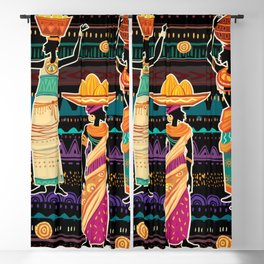 Women in ethnic dress on ornament background Blackout Curtain