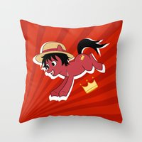 luffy Throw Pillows featuring OP Pony Luffy by AbigailC