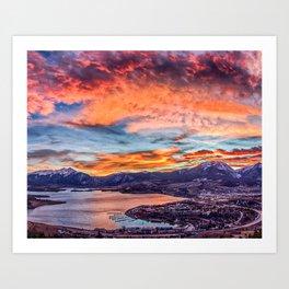 Sunset Pano // Beautiful Rocky Mountain Lake View Colorado Red Orange Sky Art Print