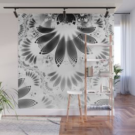 Silver Shikoba - Beautiful Black on White Fractal Paisley Forming Feathered Wings Wall Mural