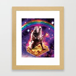 Space Cat Llama Sloth Riding Lasagne Framed Art Print