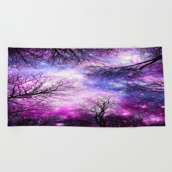 Black Trees Purple Fuchsia Blue Space Beach Towel