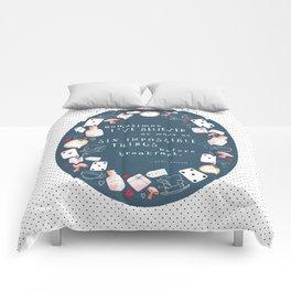 Alice in Wonderland - quote in wreath, indigo Comforters