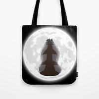 appa Tote Bags featuring Yip Yip into the Moonlight by Cattoc C