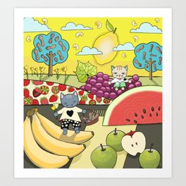 Cats in the Land of Fruits and Nuts Art Print