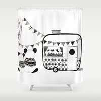 pandas Shower Curtains featuring Camping Pandas by monicamarcov