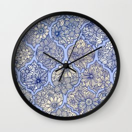 Moroccan Floral Lattice Arrangement - Purple Wall Clock