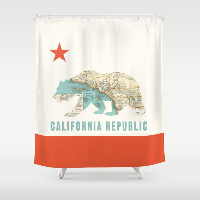 California Bear Flag With Vintage Map Shower Curtain By