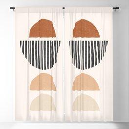 Abstract Geometric Shapes - Mid Century Boho Terracotta, Abstract Half Circles,  Earth Tones Blackout Curtain