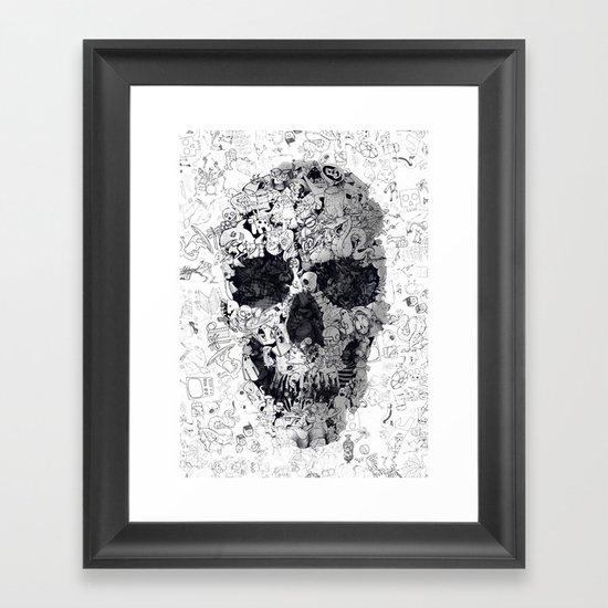 Doodle Skull BW Framed Art Print