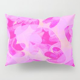 Acrylic Painting Layered Tulips Floral Pattern Shade of Neon Pink Pillow Sham