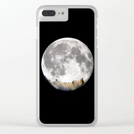 Sleeping cat with the Moon Clear iPhone Case