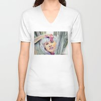 chandelier V-neck T-shirts featuring Chandelier Girl by Alina Rubanenko