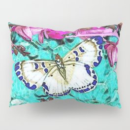 MODERN  PURPLE ORCHIDS & BLUE BUTTERFLY TURQUOISE Pillow Sham