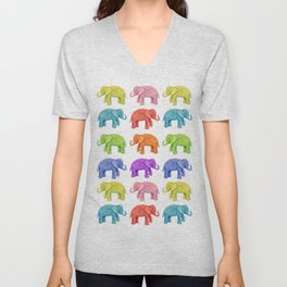 Colorful Parade of Elephants in Red, Orange, Yellow, Green, Blue, Purple and Pink Unisex V-Neck