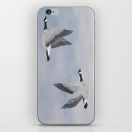 Canada geese and blue sky iPhone Skin