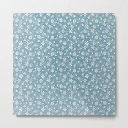Christmas Icy Blue Velvet Snow Flakes Metal Print