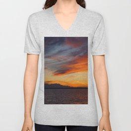 marvelous sunset over the sea Unisex V-Neck