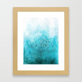 Fade to Teal - watercolor + doodle Framed Art Print