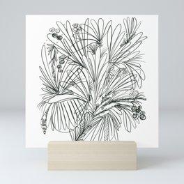 SingleLine abstract floral Mini Art Print