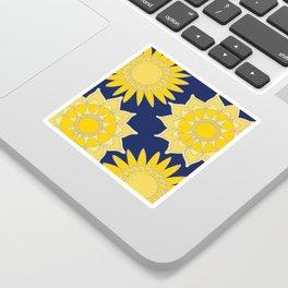 Sunshine yellow navy blue abstract floral mandala Sticker