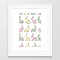 rabbits Framed Art Prints featuring Rabbits by Camille Medina