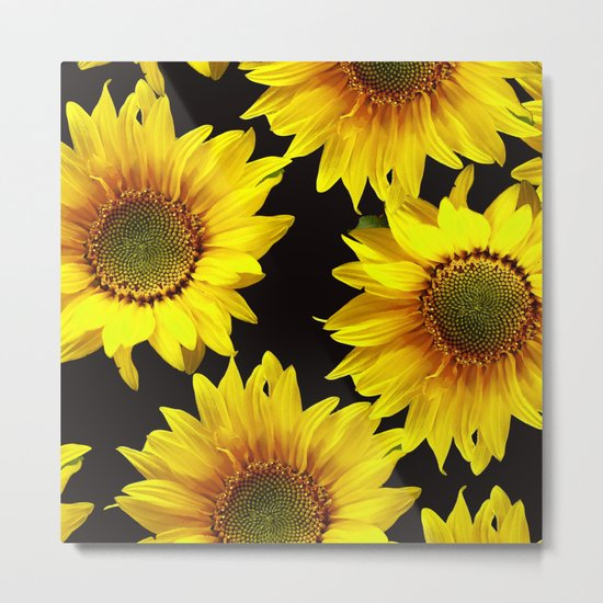 Large Sunflowers on a black background - #Society6 #buyart Metal Print