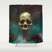 robin hood Shower Curtains featuring Robin by Anne the Viking