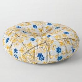 Azulejos Tiles, yellow, white and blue Floor Pillow