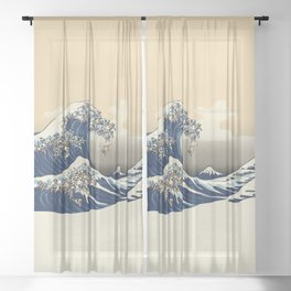 The Great Wave of Pugs Vanilla Sky Sheer Curtain