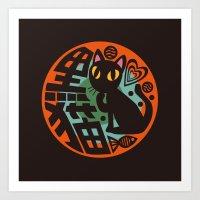 black cat Art Prints featuring Black Cat by BATKEI