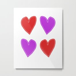 Red and Purple Hearts - 4 hearts Metal Print