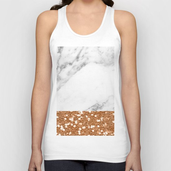 Marble and brass glitter Unisex Tank Top