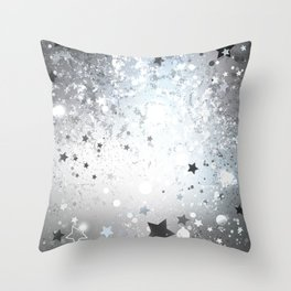 Silver Background with Stars Throw Pillow