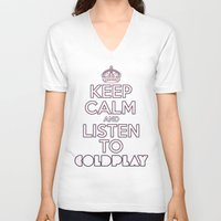 "coldplay V-neck T-shirts featuring ""Keep Calm and Listen to Coldplay""-Union Jack by Fabfari"