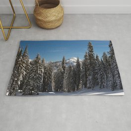 Photo California USA Lassen Volcanic National Park Winter Spruce Nature Snow Forests forest Rug