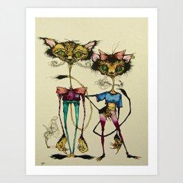Kit and Kitty Art Print